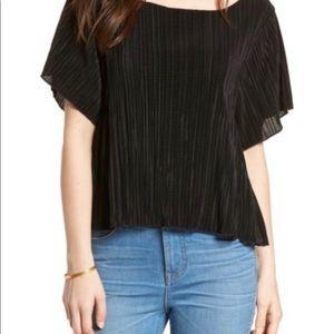 NWT Madewell Pleated Short Sleeve Shirt Black